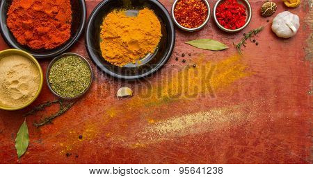 Spices Colour For Healthy On Red Wooden Background.
