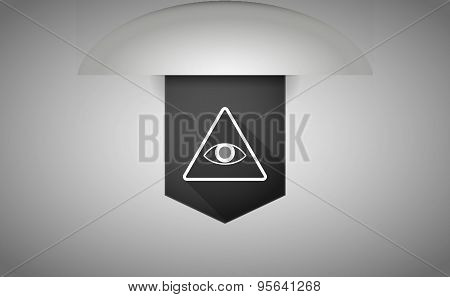 Long Shadow Ribbon Icon With An All Seeing Eye