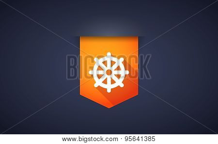 Long Shadow Ribbon Icon With A Dharma Chakra Sign