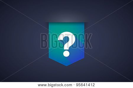 Long Shadow Ribbon Icon With A Question Sign