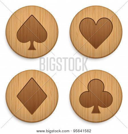 Casino wooden round icon card suits