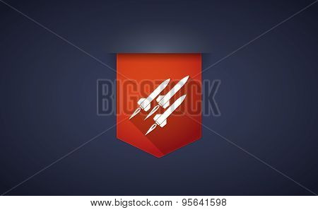 Long Shadow Ribbon Icon With Missiles