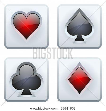 Casino square icon card suits