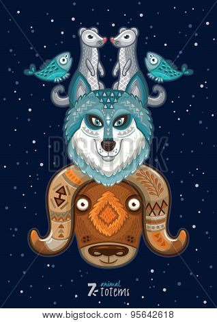 Vector illustration of wild totem animal. Husky, wolf, musk ox, ermine, fish