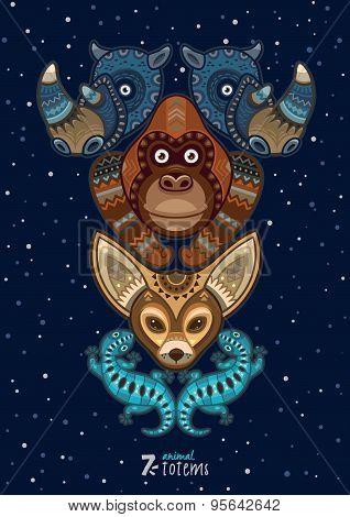 Vector illustration of wild totem animal. Rhino, gorilla, fenech, lizard
