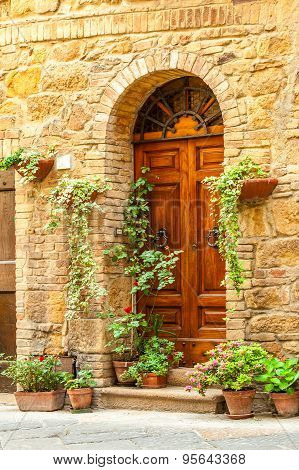 The Streets Of The Old Italian City Of Pienza