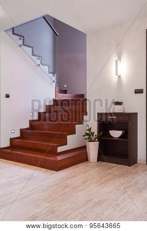 Anteroom With Wooden Stairway
