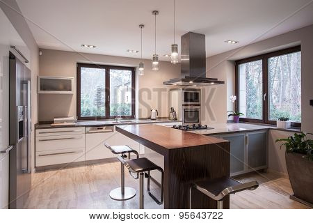 Spacious Modern Kitchen Interior