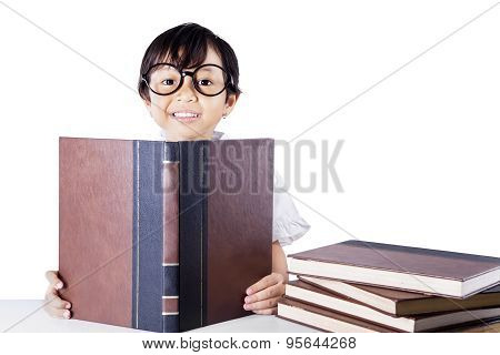 Clever Schoolgirl Reading Book Isolated