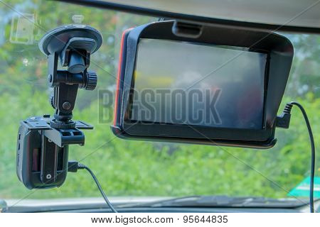 Gps Navigationand And Camera In Car.