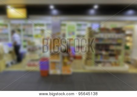 Background Of Shop In Thailand Airport  Defocused.