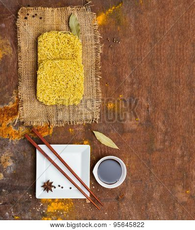 Instant Noodles For Cooking And Eat In The Dish.