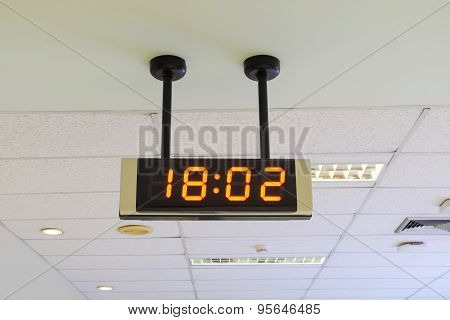 Digital Clock On The Wall In Airport.