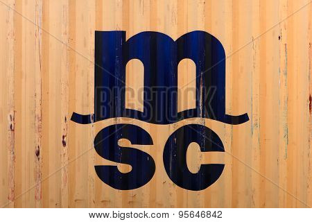 M.S.C - Mediterranean Shipping Company logo on a shipping container