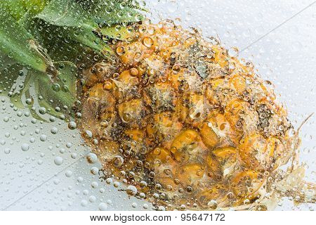 Water Drops Of Pineapple Background