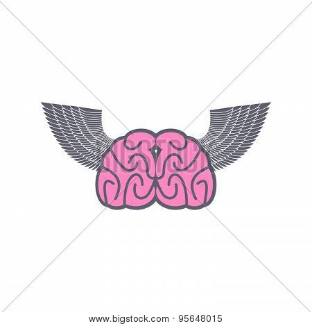 Brain with wings. Symbol logo ideas. Brain with Angel Wings on a white background. Vector illustrati