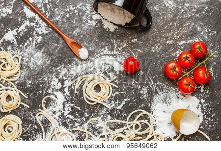 Spaghetti And Flour With Raw Homemade.