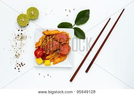 Spaghetti With Sausage.