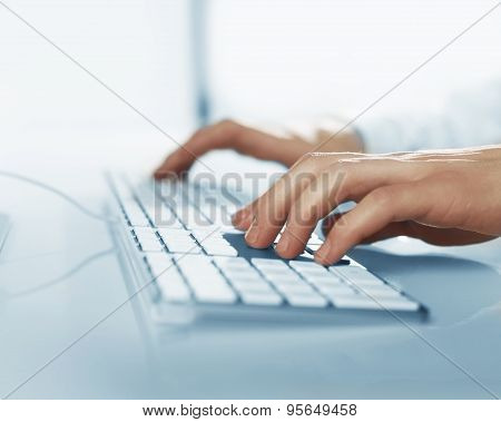 Busienssman Hands Pushing Keys Of Keyboard