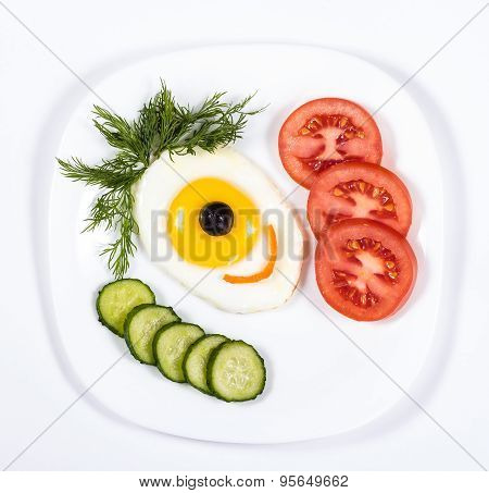 creative design of breakfast on the plate - face cyclops and vegetables.