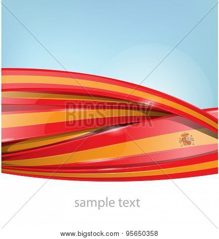 Ribbon Spain Flag On Background