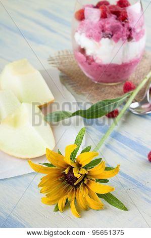 Rudbeckia Bloom On Blue Table