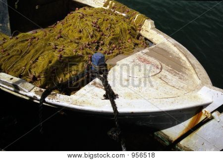 Greek Fishing Boat And Nets