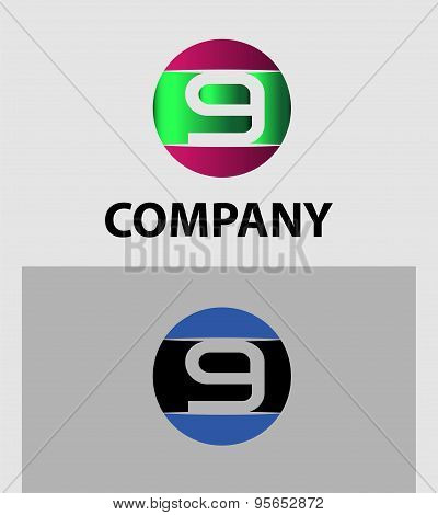 Number logo design.Number five logo.Logo 9 vector template.