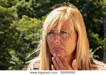 Worried Mature Woman Thinking