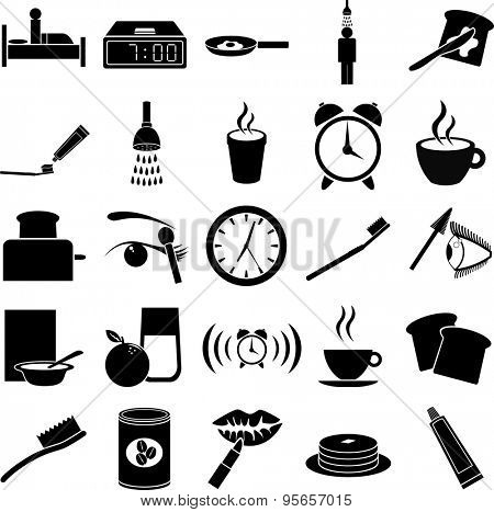 morning routine symbols set