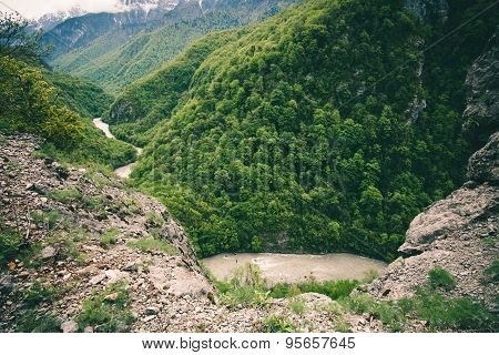 Aerial view Mountains Landscape of Bzyb river and forest