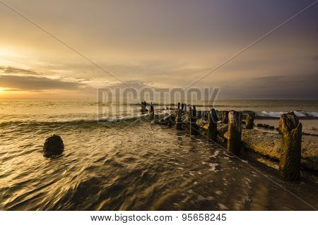 sea landscape, coast after sunset