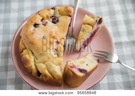 Home made Berry Cake on a plate