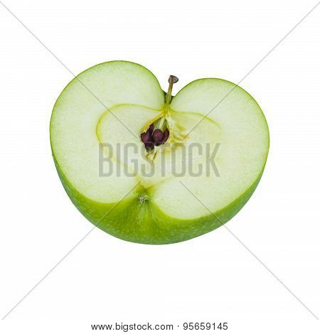 Green Granny Smith Apple Cut In Half On White Background