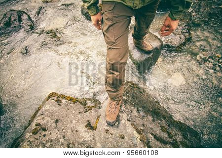 Feet Man trekking boots hiking outdoor