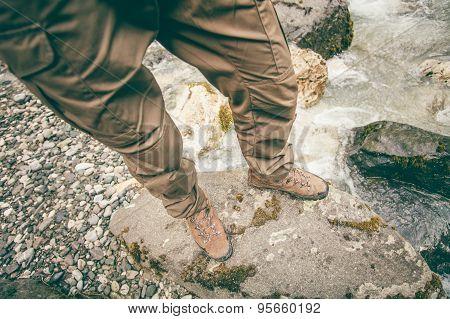 Feet Man trekking boots hiking outdoor Lifestyle