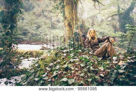 Young Woman relaxing hiking outdoor Lifestyle Travel