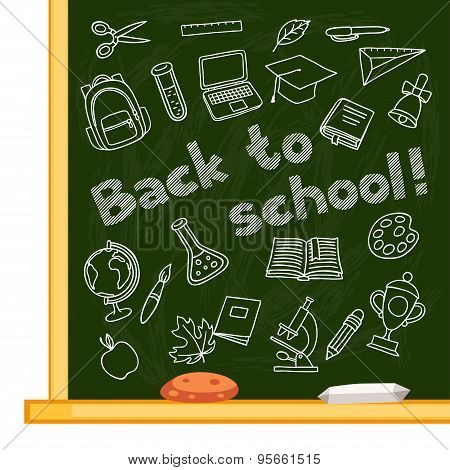 Back to school background with hand drawn icons on chalk board
