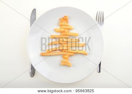 Christmas Tree From Fried Potatoes