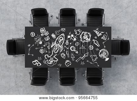 Top View Of A Conference Room. A Black Rectangular Table And Eight Black Chairs Around. Business Ico