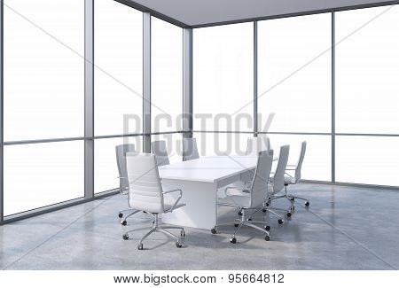 Panoramic Corner Conference Room In Modern Office, Copy Space View From The Windows. White Chairs An