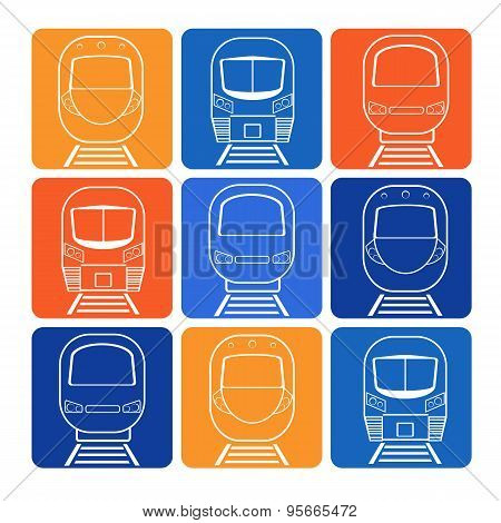 Vector Set Silhouette Modern Express Train On Background