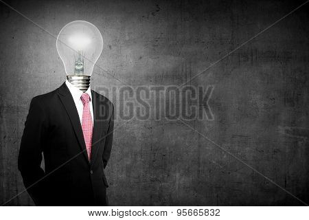Business Man With Lamp Head