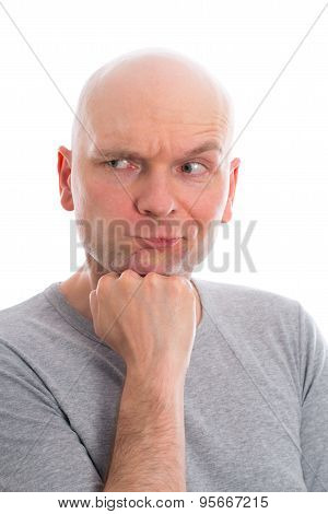 Funny Man With Bald Head  Is Refecting