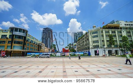 Ho Chi Minh City, Vietnam - May 27, 2015 : Nguyen Hue Pedestrian Street With Many Luxuriant Trade Ce