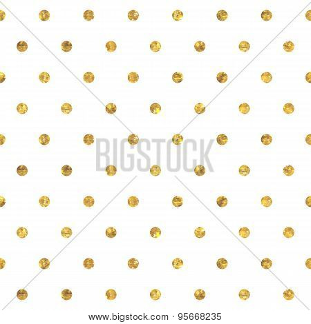 Seamless polka dot golden pattern.