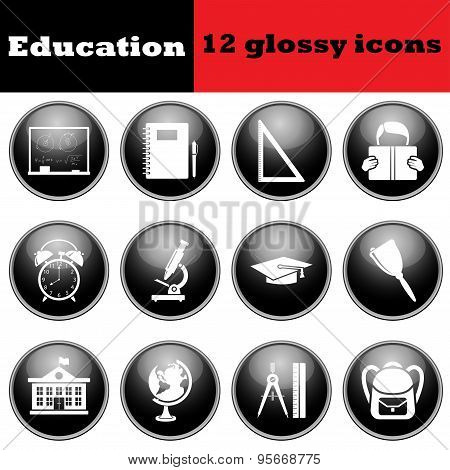 Set Of Education Glossy Icons