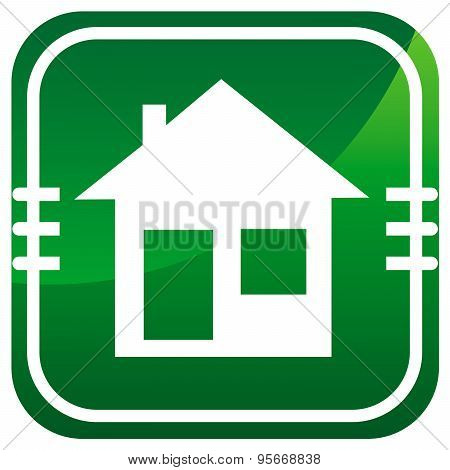 Illustration Of Home Icons, House Silhouettes On Green Background