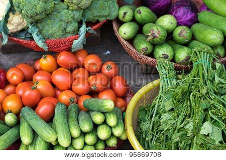 Various Colorful Fresh Fruits And Vegetables At Ho Chi Minh City Local Market