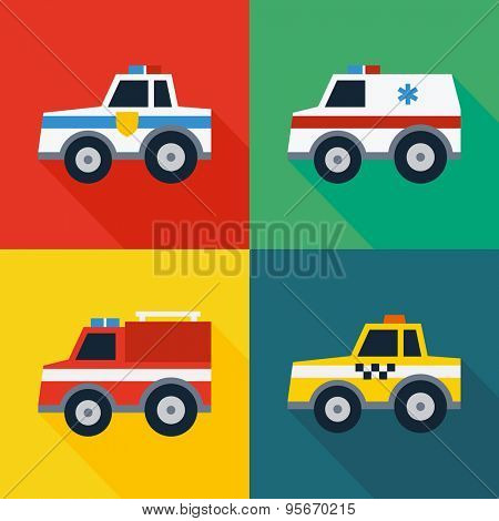 Set of special machines. Flat design style. Vector illustration